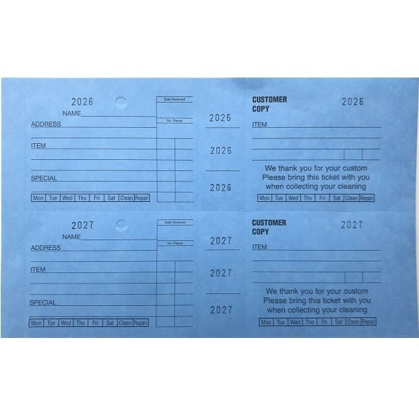 Dry Cleaning Wide Ticket Books Blue
