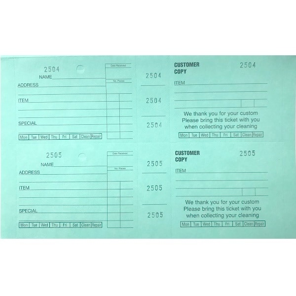 Dry Cleaning Wide Ticket Books Green