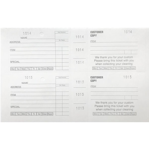 Dry Cleaning Wide Ticket Books White