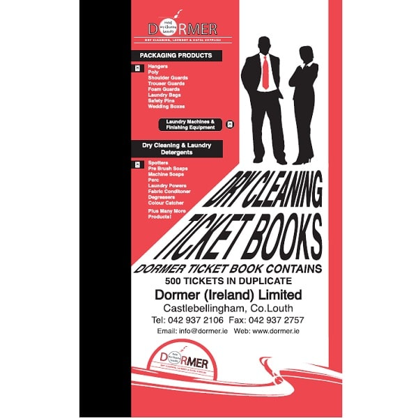 Dry cleaning ticket books narrow
