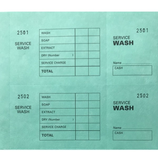 Laundry Service Wash Ticket Books Green