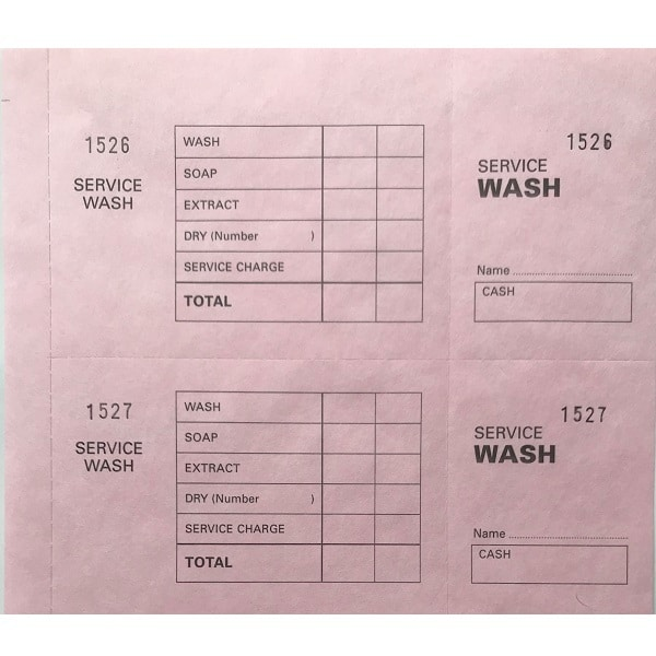 Laundry Service Wash Ticket Books Pink