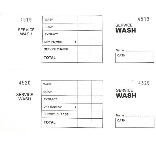 Laundry Service Wash Ticket Books White