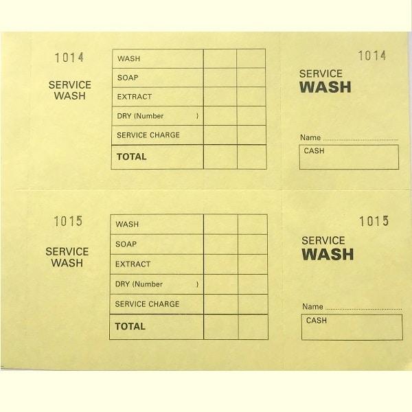 Laundry Service Wash Ticket Books Yellow