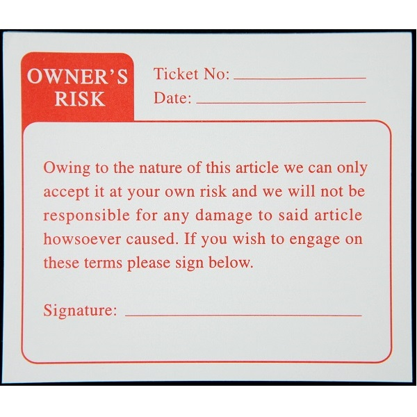 Owners Risk Labels