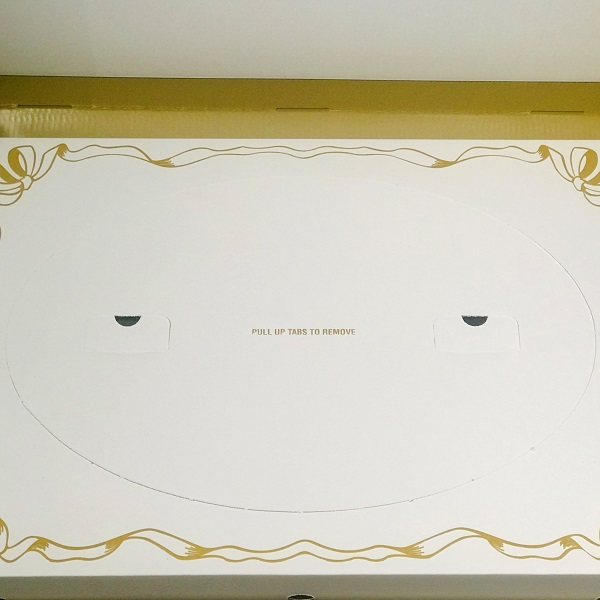 Pull up tabs to reveal viewing window on Gold Bridal Gown Archival Box