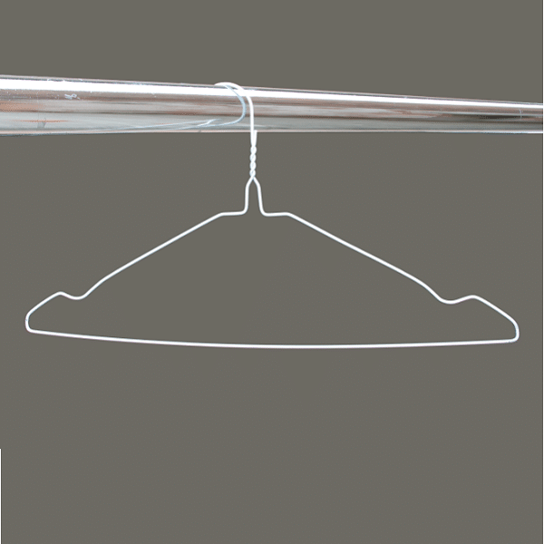 White notched wire hangers 16 inches 13 gauge